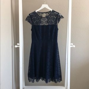 Blue lace short dress